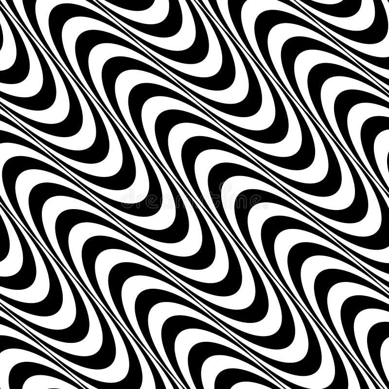 Fond noir et blanc de modèle de vague d'art op illustration stock
