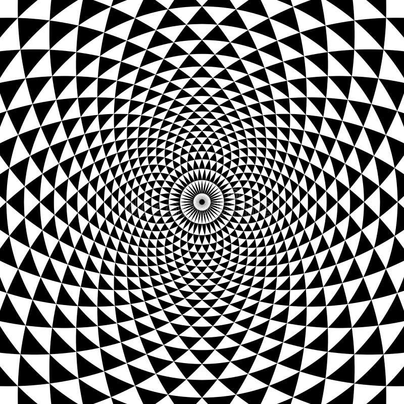 Fond noir et blanc de spirale abstraite de cercle illustration stock