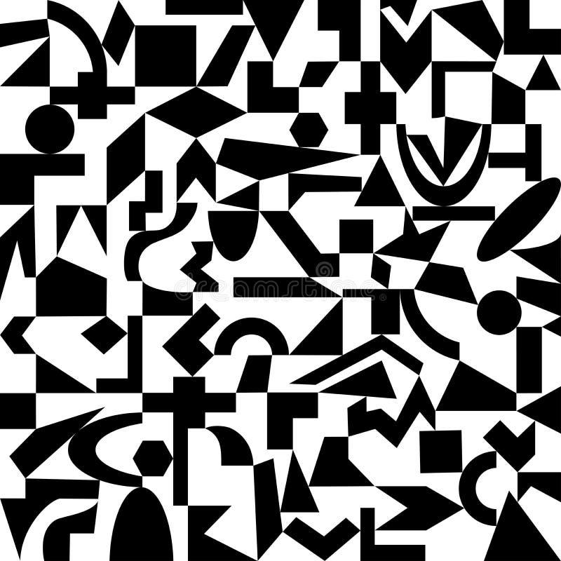 Fond noir et blanc des formes géométriques illustration de vecteur