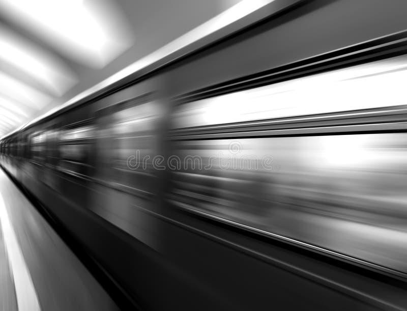 Fond noir et blanc diagonal de train de métro de tache floue de mouvement photos libres de droits