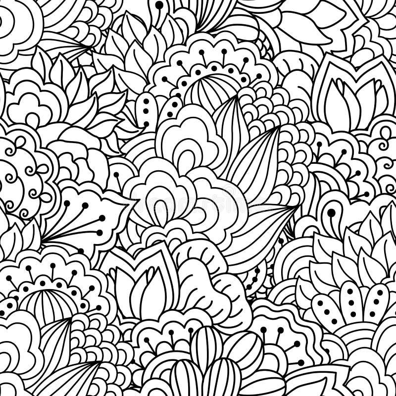Fond noir et blanc sans joint Éléments floraux, ethniques, tirés par la main pour la conception illustration stock