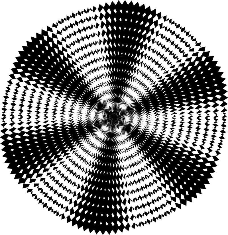Fond noir et blanc tordu par résumé Illusion optique de la surface tordue Rayures tordues Texture 3d stylisée Vecteur illustration libre de droits