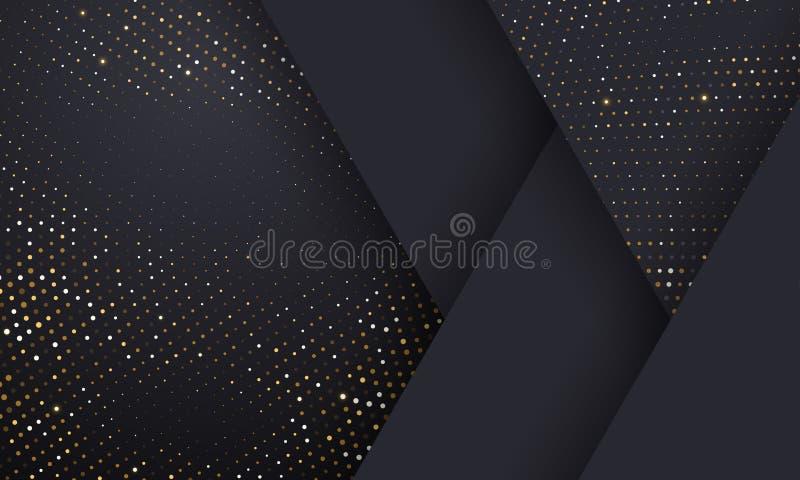 Fond noir géométrique d'or et de modèle tramé argenté Le scintillement d'or de vecteur a pointillé des étincelles ou la texture t illustration de vecteur