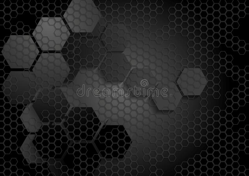 Fond noir géométrique de technologie avec l'hexagone illustration de vecteur