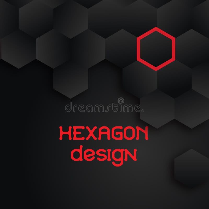Fond noir géométrique de technologie avec la texture d'hexagone Conception ENV 10 de vecteur illustration libre de droits