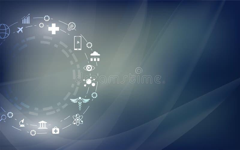 Fond numérique abstrait de concept de construction de technologie d'innovation avec l'icône d'IOT illustration stock