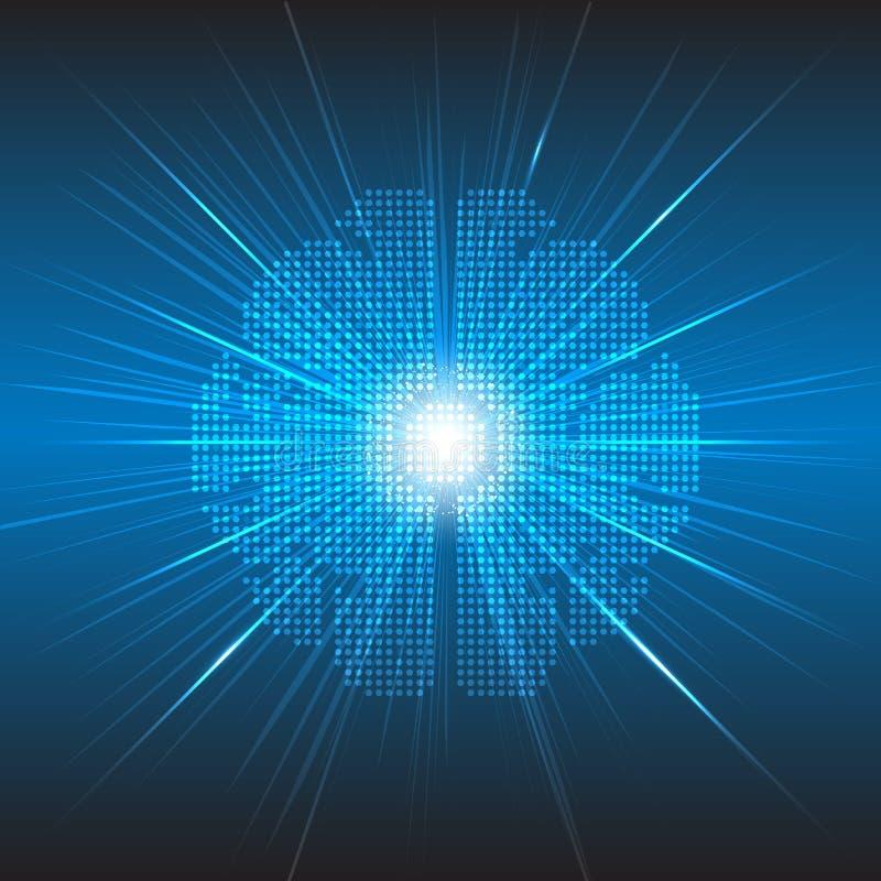 Fond numérique de concept de technologie de cerveau de pixel de vecteur illustration stock