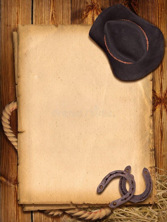 Fond occidental avec le chapeau et le fer à cheval de cowboy. illustration de vecteur