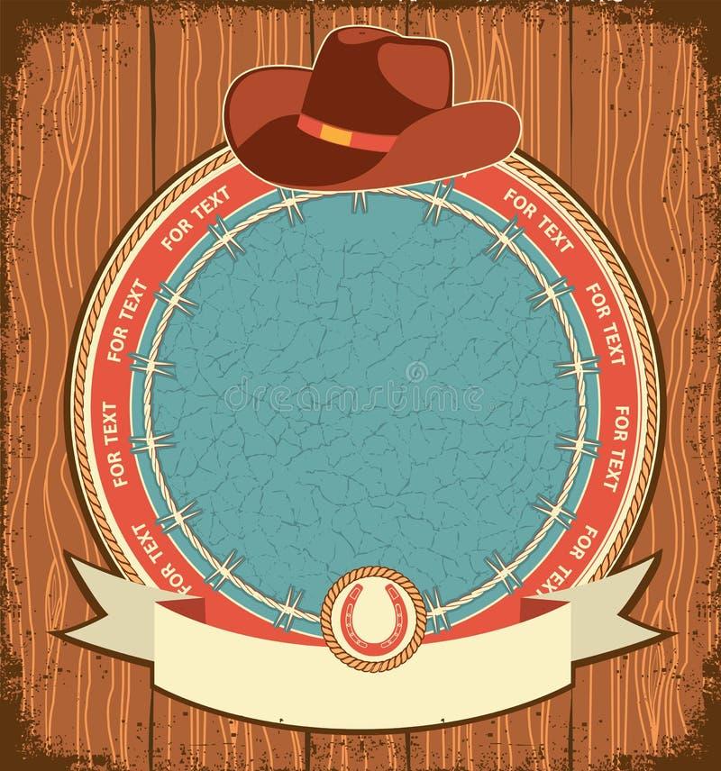 Fond occidental d'étiquette avec le chapeau de cowboy illustration de vecteur
