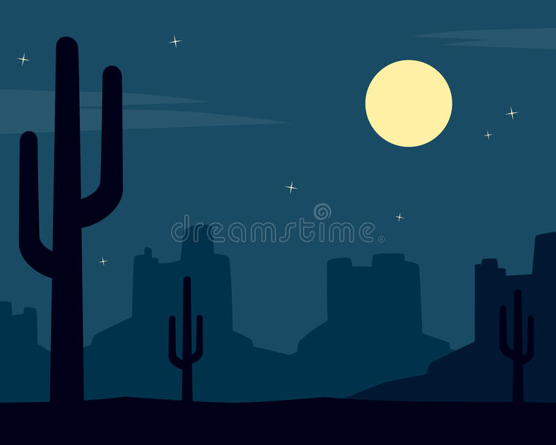 Fond occidental sauvage de nuit avec le cactus illustration libre de droits