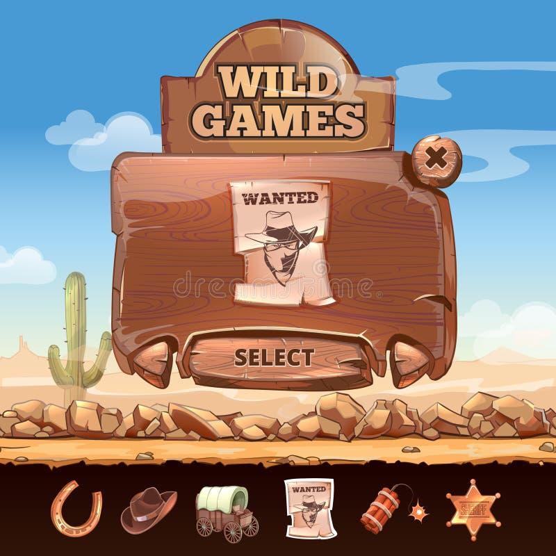 Fond occidental sauvage de paysage de désert avec l'utilisateur illustration libre de droits