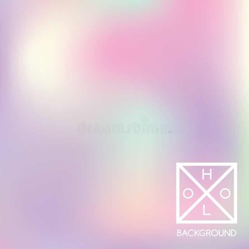 Fond olographe Couverture iridescente de Holo Contexte mou de couleurs en pastel de gradient illustration libre de droits