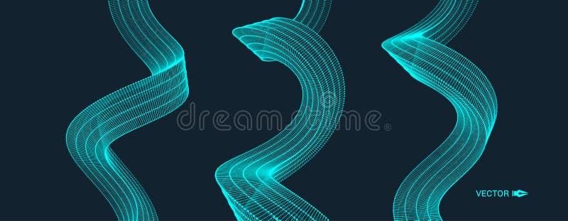 Fond onduleux avec l'effet de mouvement style de la technologie 3D illustration stock