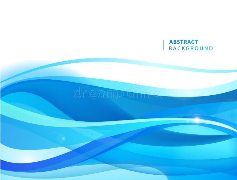 Fond onduleux bleu de vecteur de r?sum? Calibre de conception graphique pour la brochure, site Web, appli mobile, tract L'eau, co illustration libre de droits
