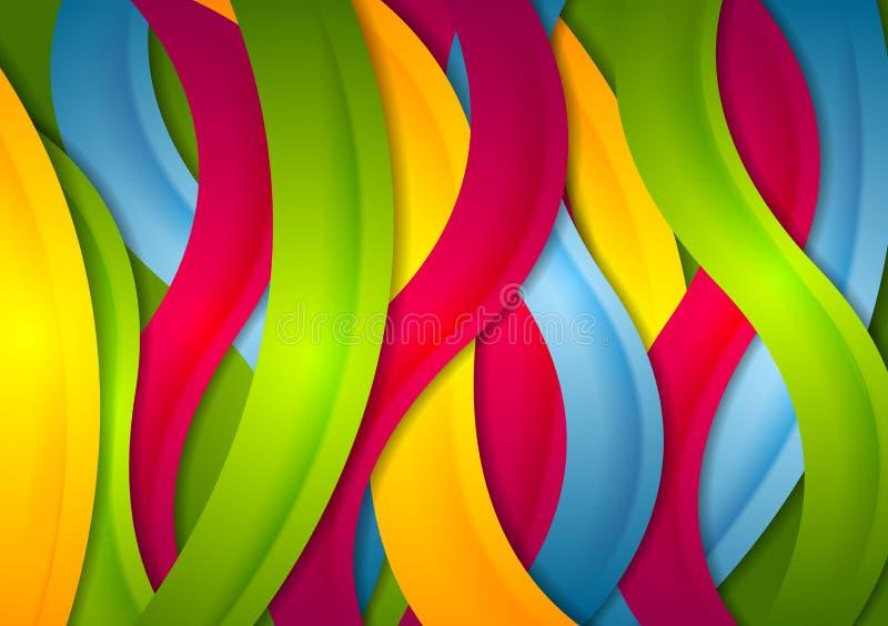 Fond onduleux lumineux abstrait de rayures illustration stock