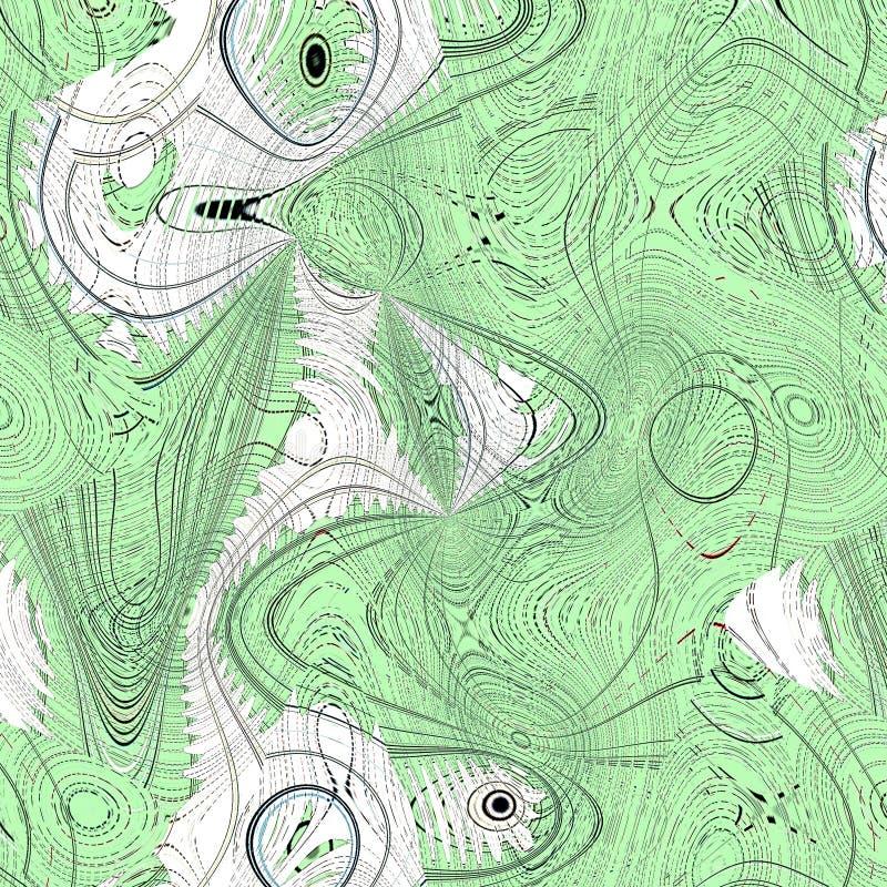 Fond onduleux ombragé multicolore de résumé avec le zigzag et les bulles, dans des couleurs vertes et blanches photo libre de droits