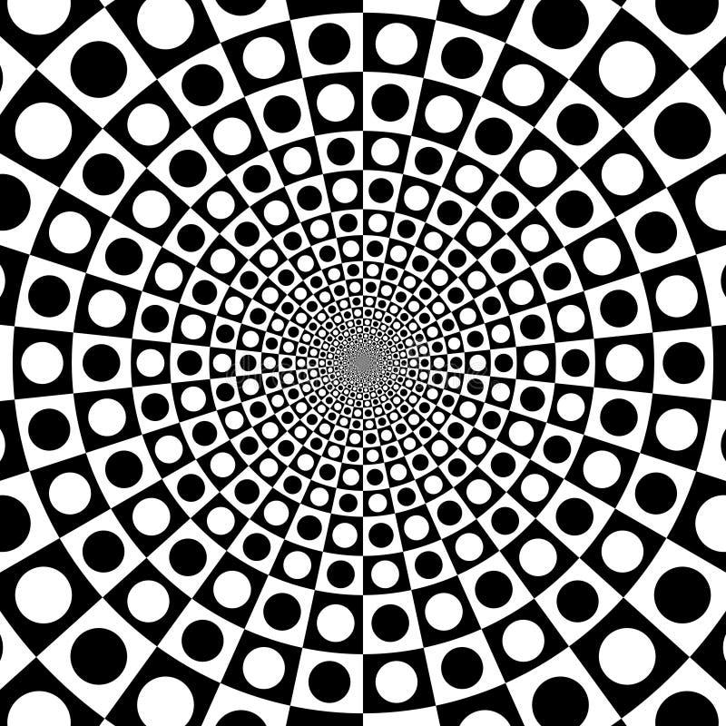 Fond optique noir et blanc de cercle de bourdonnement de vecteur illustration libre de droits