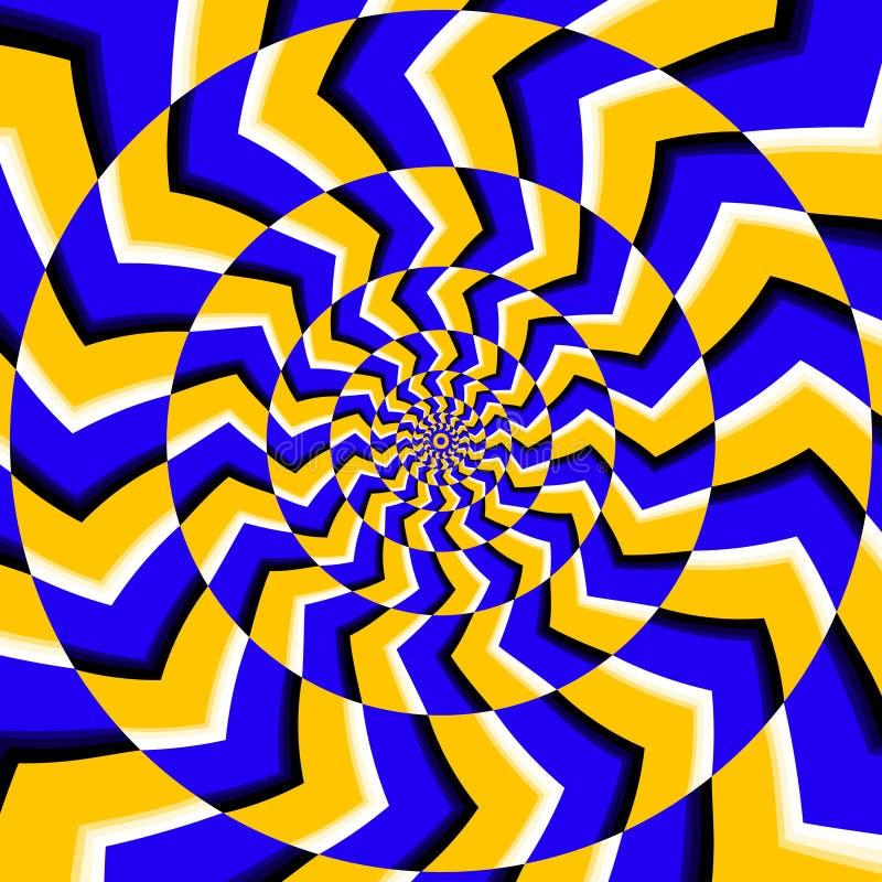 Fond optique psychédélique de vecteur d'illusion de rotation illustration stock