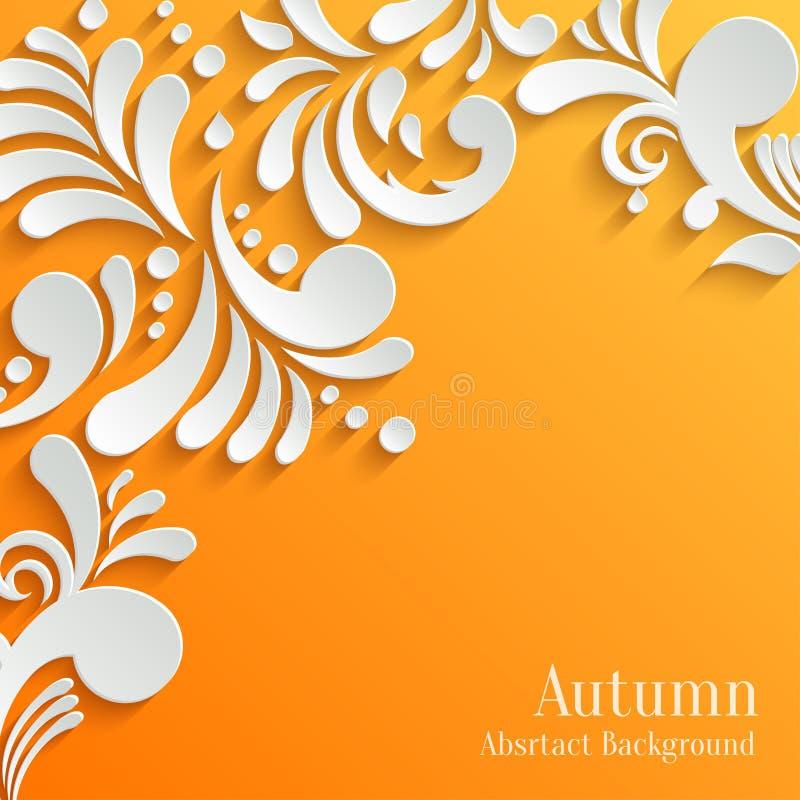 Fond orange abstrait avec le modèle 3d floral illustration stock