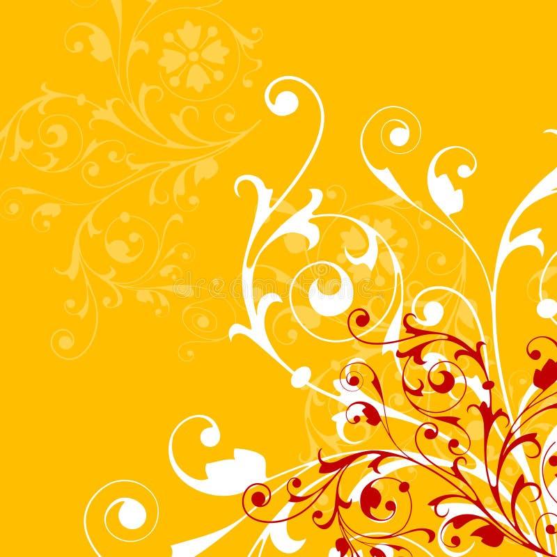 Fond orange abstrait avec les éléments floraux illustration stock