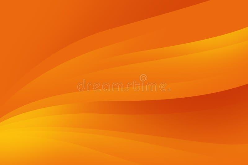 Fond orange abstrait avec les lignes douces, conception futuriste illustration stock