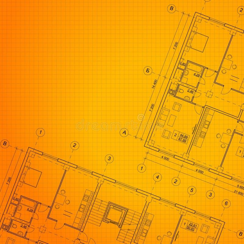 Fond orange architectural. illustration de vecteur