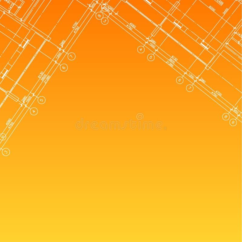 Fond orange architectural illustration de vecteur