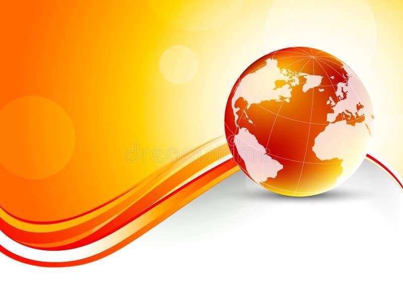 Fond orange avec le globe illustration de vecteur