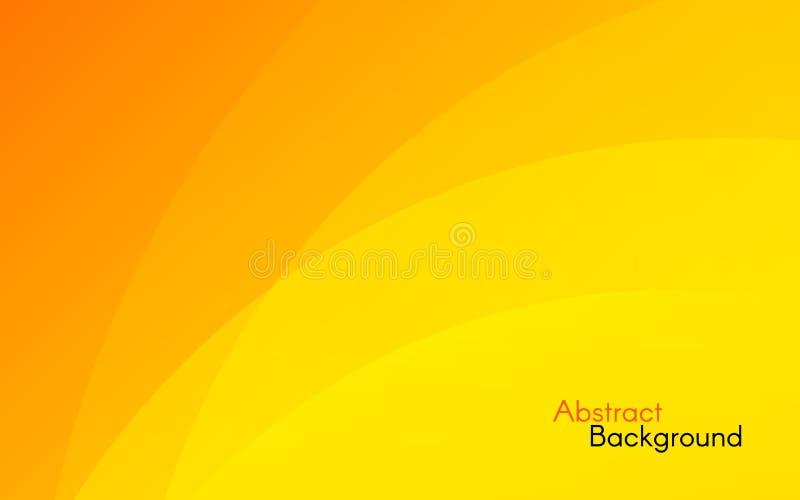 Fond orange Conception ensoleillée abstraite Vagues jaunes et d'orange Contexte lumineux pour la bannière, affiche, Web Vecteur illustration libre de droits