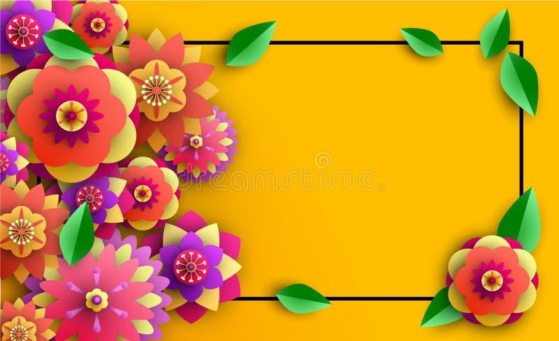 Fond orange d'été avec les fleurs lumineuses illustration stock