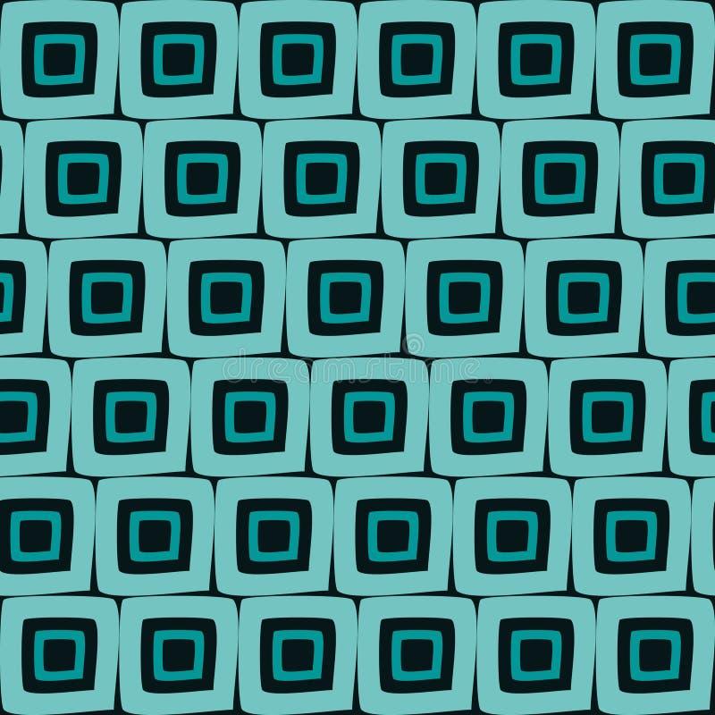Fond orange d'abrégé sur modèle de tuiles carrées géométriques tirées par la main sans couture de vecteur rétro illustration stock