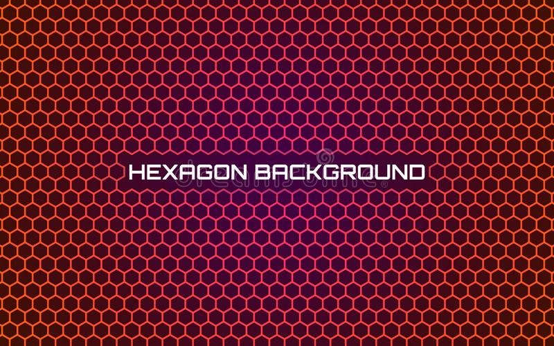 Fond orange d'hexagone Dessin géométrique abstrait lumineux Calibre moderne avec la texture de nid d'abeilles Gradient futuriste illustration libre de droits