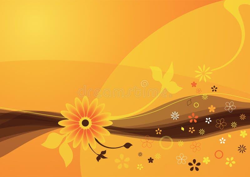 Fond orange de fleur d'été illustration stock