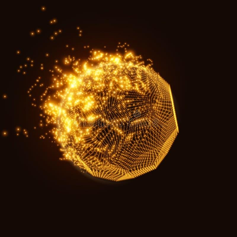 Fond orange de maille de vecteur abstrait Destruction de la comète abstraite Style futuriste de technologie illustration stock