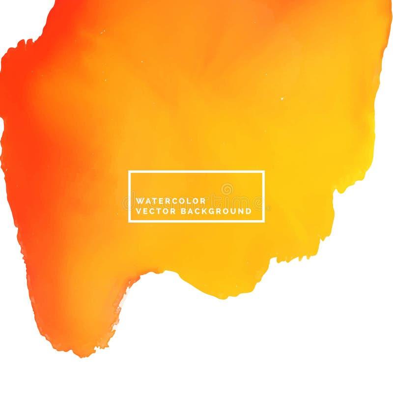 Fond orange de peinture d'aquarelle de brosse illustration libre de droits