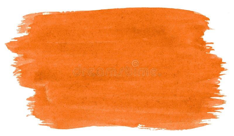 Fond orange vibrant d'abrégé sur aquarelle, tache, peinture d'éclaboussure, tache, divorce Peintures de cru pour la conception et images libres de droits