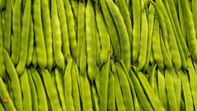 Fond organique vert frais de pois de rangées du marché Nourriture saine photo libre de droits
