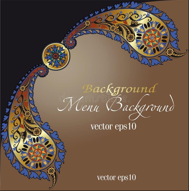 Fond oriental de couverture de modèle, motif indien Paisley illustration de vecteur