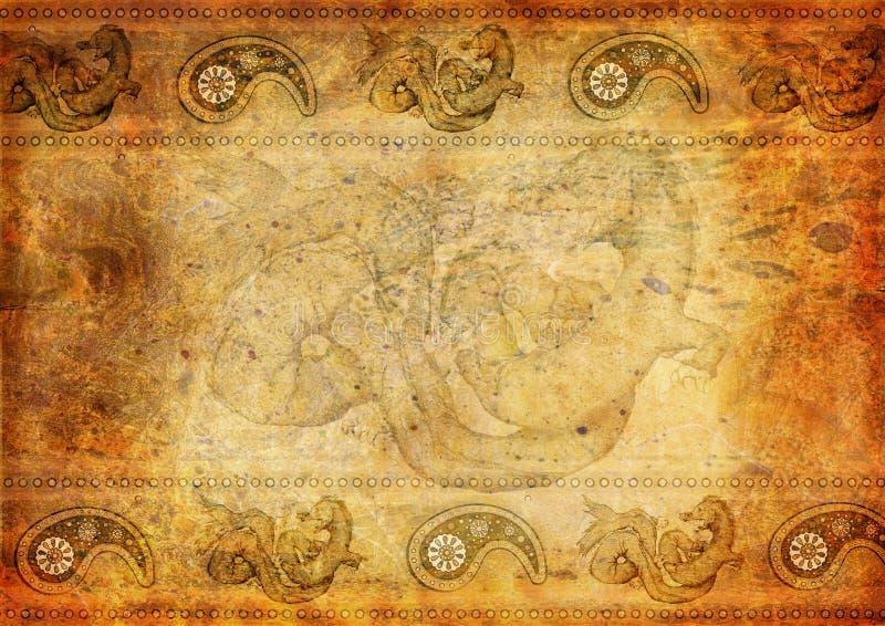 Fond oriental de cru avec le dragon illustration de vecteur