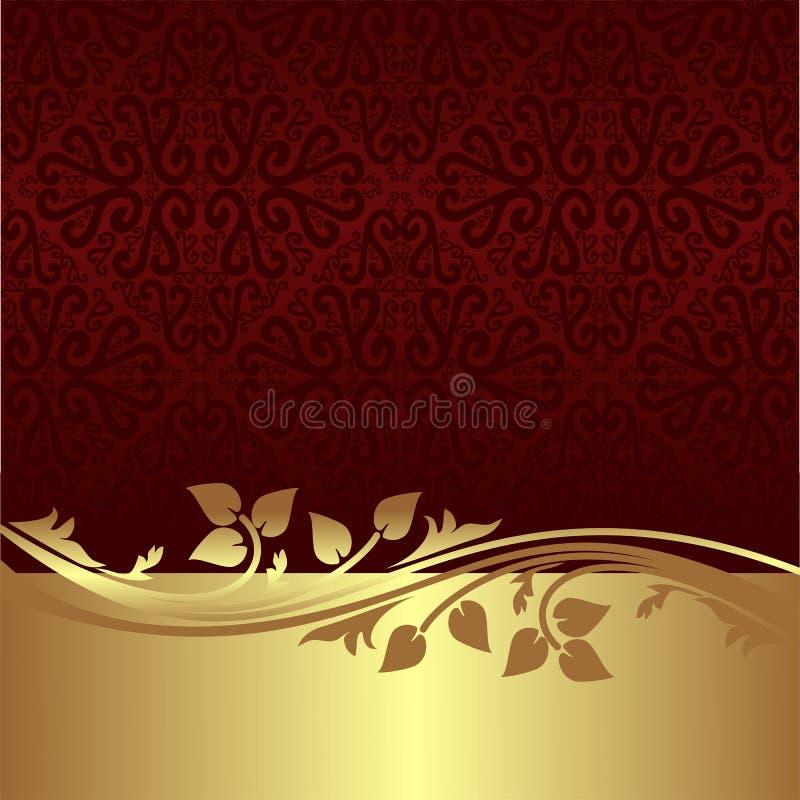Fond ornemental élégant avec la frontière florale d'or illustration de vecteur