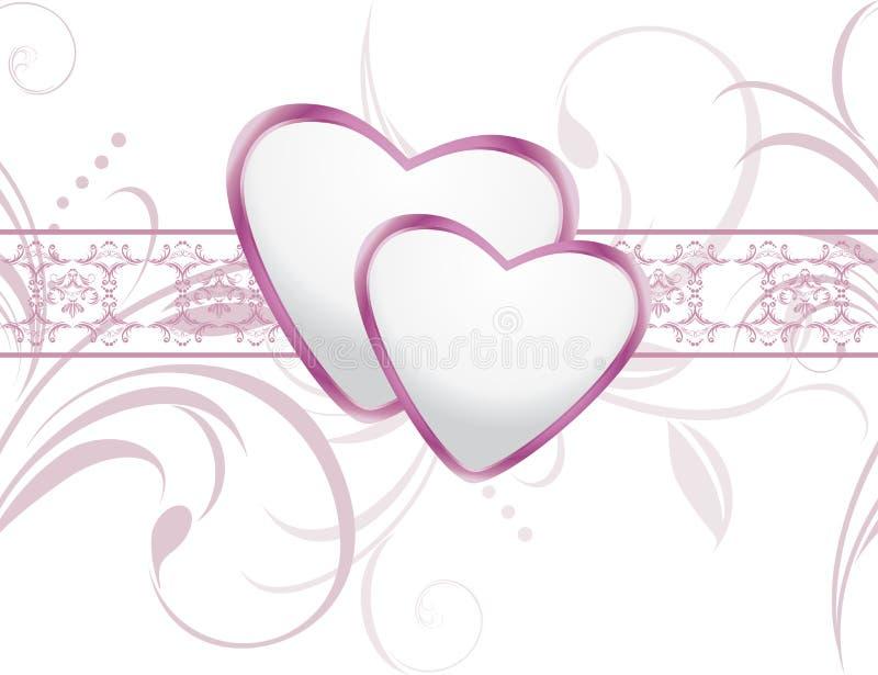 Fond ornemental avec les coeurs brillants illustration stock