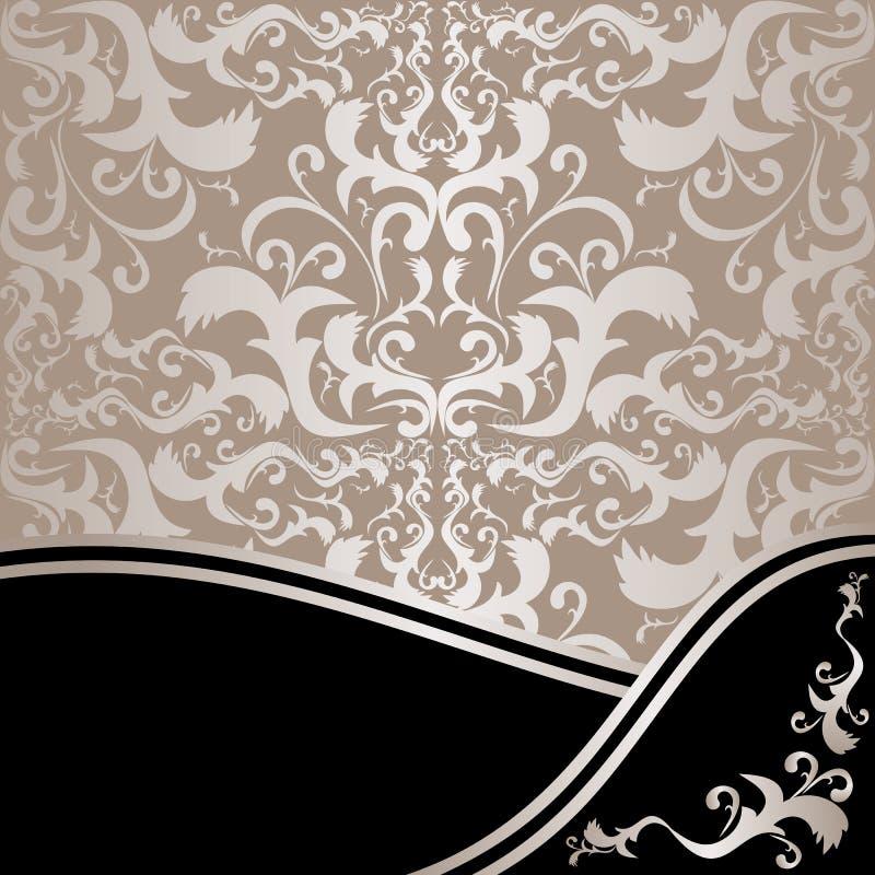 Fond ornemental de luxe : argent et noir illustration stock
