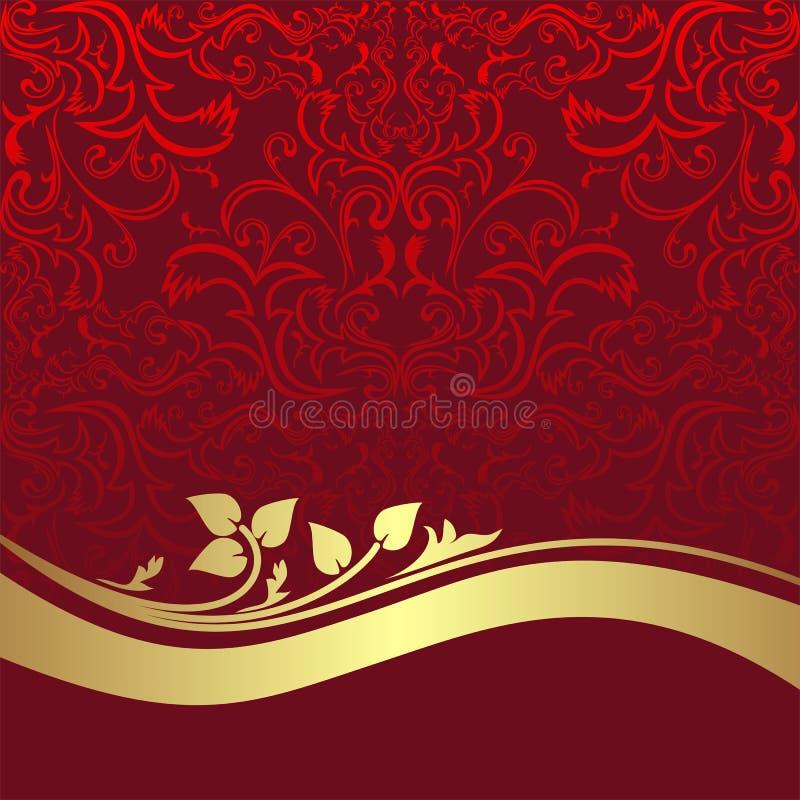Fond ornemental de luxe rouge avec Borde d'or illustration libre de droits