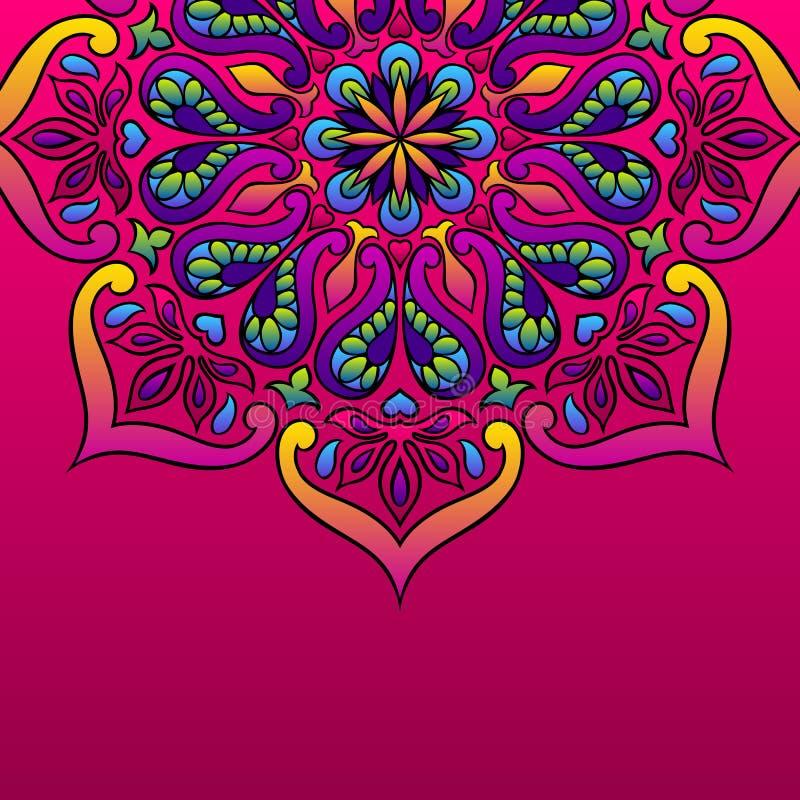 Fond ornemental indien Mandala folklorique ethnique illustration stock