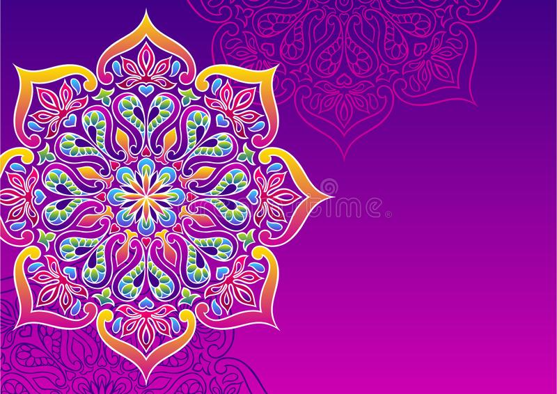 Fond ornemental indien Mandala folklorique ethnique illustration libre de droits