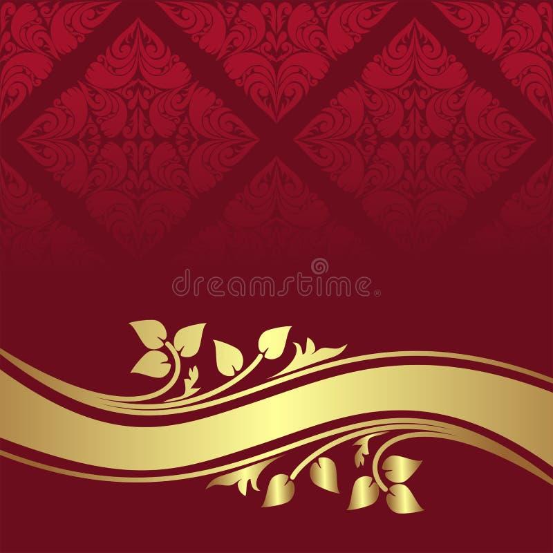Fond ornemental rouge avec la frontière florale d'or. illustration de vecteur