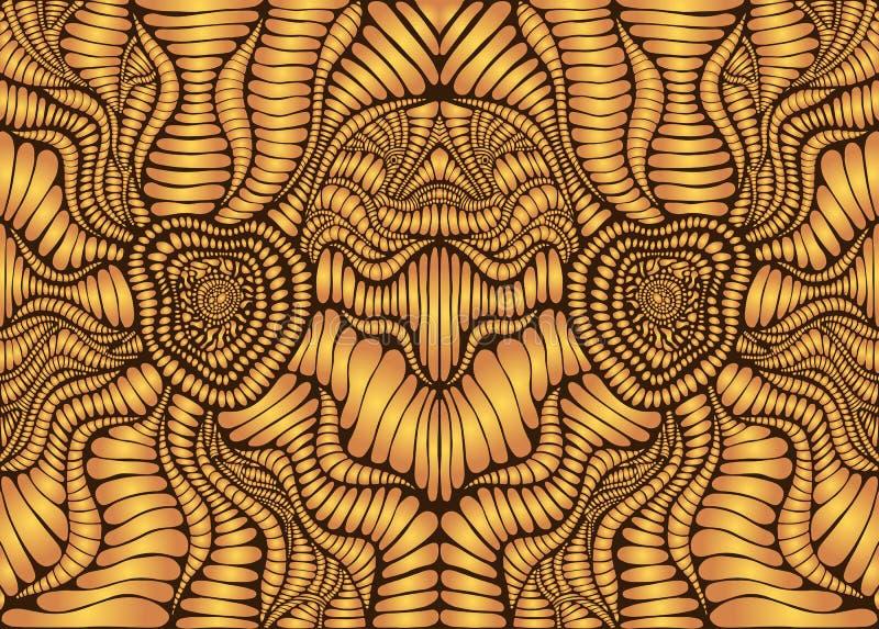 Fond ornemental symétrique psychédélique de cru Style de Steampunk, couleurs d'or de gradient, contour brun Vecteur illustration stock