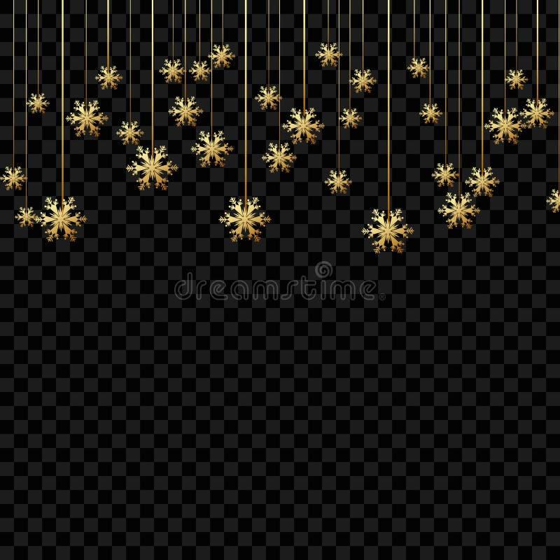 Fond ou invitation de Noël avec les flocons de neige accrochants Conception de Joyeux Noël et de bonne année Symbole de la célébr illustration stock