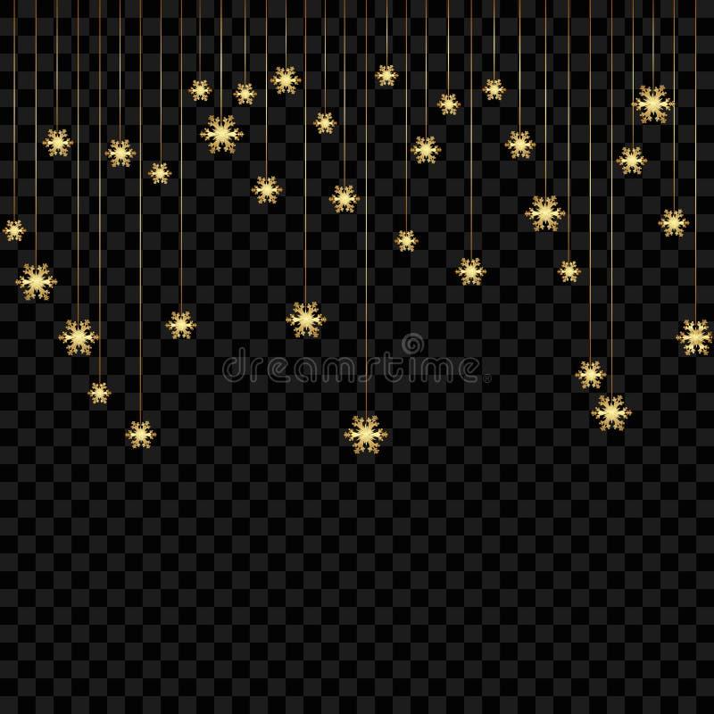 Fond ou invitation de Noël avec les flocons de neige accrochants Conception de Joyeux Noël et de bonne année Symbole de la célébr illustration de vecteur