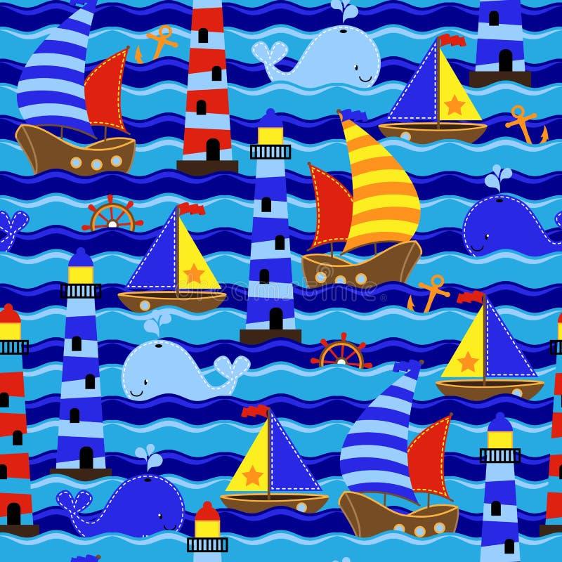 Fond ou papier peint orienté nautique sans couture de vecteur de Tileable illustration stock